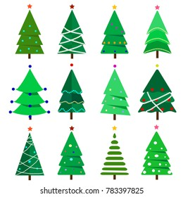Collection of Christmas trees, modern, interesting  flat design. It can be used for printed materials, posters, business cards or for web.