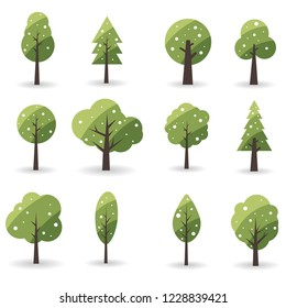Collection of Christmas trees on white background. Winter nature or healthy. Vector illustration