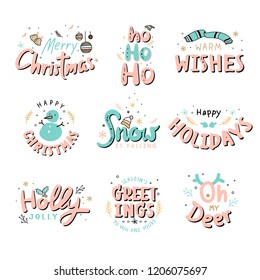 Collection of  Christmas typography vectors