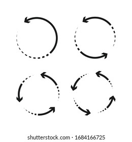 Collection circle arrows vector icon. sign of synchronize and connection. color editable