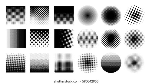 Collection circle halftone element, monochrome abstract graphic for DTP, prepress or generic concepts. Vector illustration. Isolated on white background