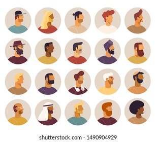 Collection of circle icon with male cartoon characters. Faces various nationality, side view. Blond, brunet, redhead, african american, asian, muslim, european. Set of avatars. Vector, flat design