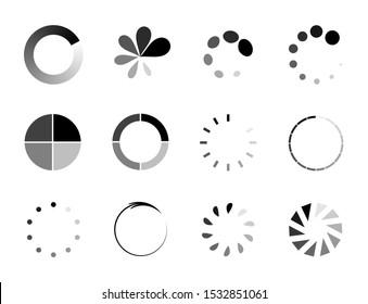 collection of circle loader, wait load spining circle, buffering waiting, upload indicator, vector set icon.
