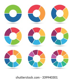 Collection of circular diagrams with 2, 3, 4, 5, 6, 7, 8, 9 and 10 segments