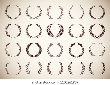 Collection circular vintage laurel wreaths. Can be used as design elements in heraldry on an award certificate manuscript and to symbolise victory illustration in silhouette