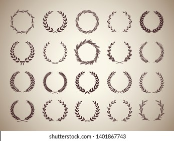 Collection of circular vintage laurel wreaths. Can be used as design elements in heraldry on an award certificate, manuscript and to symbolise victory illustration in silhouette