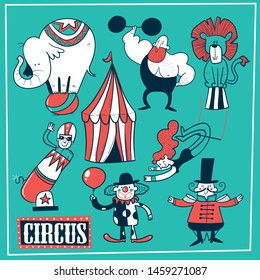 Collection of circus tent and funny show performers - clown, strongman, acrobats, trapeze artist. vector illustration in cartoon style.