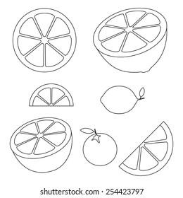 Collection of citrus slices - orange, lemon, lime and grapefruit, icons set, black isolated on white background, vector illustration.