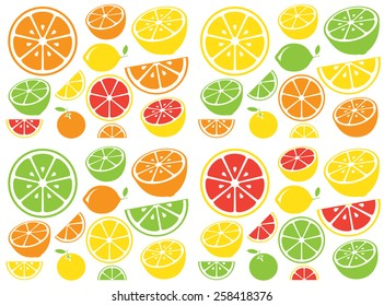 Collection of citrus slices - orange, lemon, lime and grapefruit, icons set, colorful isolated on white background, vector illustration.