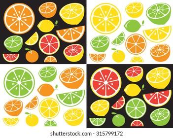 Collection of citrus slices - orange, lemon, lime and grapefruit, icons set, vector illustration.