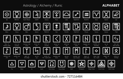 Collection of classic astrological alchemical and runic sign icons. Line design