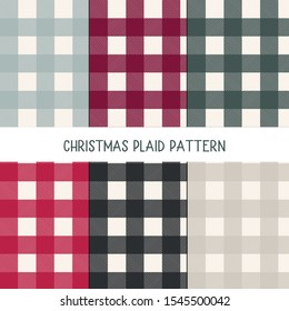 Collection of classic farmhouse seamless plaid patterns for fabric, stationery,textile, clothing,wallpaper design