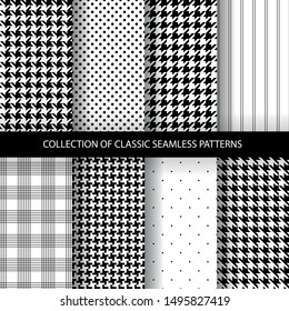 Collection of classic fashion houndstooth seamless geometric patterns. Variations of pied de poule print