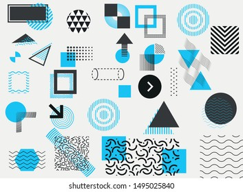 Collection of classic memphis design elements. Vector illustration.