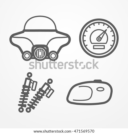 Collection Classic Road Motorcycle Parts Line Stock Vector Royalty