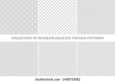 Collection of classic seamless retro  patterns - simple geometric design. Vintage style - gray brushed textures. Repeatable vector backgrounds.
