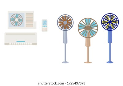 Collection of climate equipment for the home.Set of equipment for a comfortable microclimate in the house.Fans , air conditioners are isolated on a white background.Vector illustration in flat style.