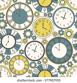 Collection of clock, seamless pattern vector. Hand drawn icons set. Colorful background with clock icon. Decorative wallpaper, good for printing