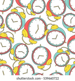Collection of clocks, seamless pattern vector. Hand drawn icons set. Colorful background with sketch objects and clock icon. Decorative wallpaper, good for printing