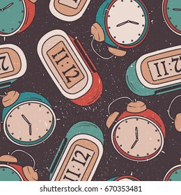 Collection Of Clocks Seamless Pattern Vector Hand Drawn Icons Set Colorful Background With