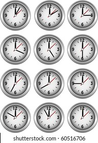 Collection of clocks showing each 5 minutes of the hour illustration vector