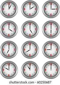 Collection of clocks showing each hour of the day illustration vector