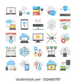 Collection Of Cloud Computing and Web Hosting Flat Icons