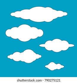 collection of clouds icon design vector isolated on blue background