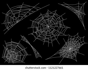 Collection of Cobweb, isolated on black, transparent background. Spiderweb for design. Spider web elements,spooky, scary, horror decor. Hand drawn silhouette, vector illustration
