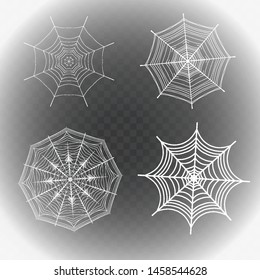 Collection of Cobweb, isolated on black, transparent background. Spiderweb for Halloween design. vector templates, Halloween, streaming, create your amazing stories, set for brands and blogger, modern