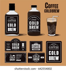 Collection of coffee cold brew labels in bottles and glass