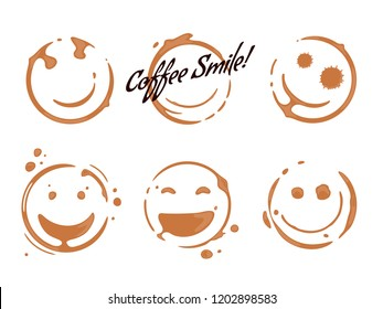 Collection of coffee cup round stains shaping smiles and smiling faces. Good mood concept. Vector drops and splashes on white.