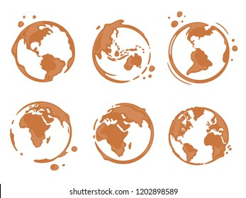 Collection of coffee cup round stains shaped like a world map or globe. All continents: North and South America, Europe, Asia, Africa, Australia. Vector drops and splashes on white background.