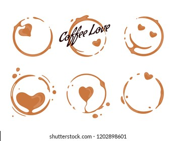 Collection of coffee cup round stains shaping hearts and smiling faces. Good mood and coffee love concept for cafes and perks. Vector drops and splashes on white.