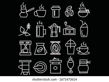 Collection Coffee Equipment Sign Icons Set Vector Thin Line. Coffee And Latte Cup, Beverage Machine And Brewing Pot Linear Pictograms. Morning Energetic Drink Monochrome Contour Illustrations,simple.