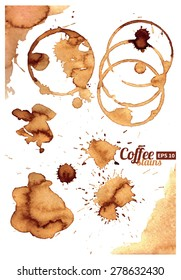 Collection of coffee stains on white