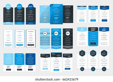 Collection of Coloful Pricing Table Design Templates for Websites and Applications. Vector Pricing Plans with Icon Set. Flat Style Vector Illustration