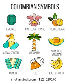 The collection oа colombian symbols tejo national sport, cattaleya trianae flower, cumbia genre of music. Made in flat line style. Perfect for souvenir products, infographic, travel agency.