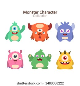 Collection of color decorative monsters - vector