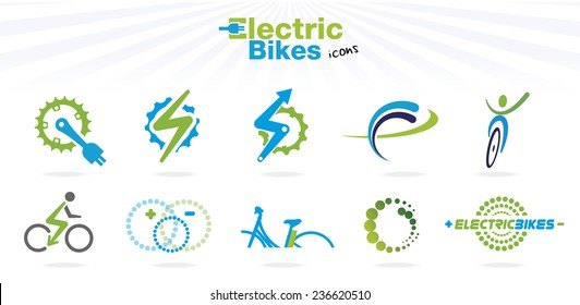 Collection of color electric bikes icons, isolated, vector illustration
