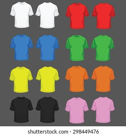 Collection of color t-shirt for men front and back