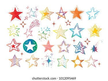 Collection of colored doodle stars on white background.
