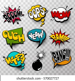 Collection colored effects template comic speech bubbles halftone dot background style pop art. Comic dialog bang, boom, wow, bam, yeah. Creative idea conversation comics book box sketch explosion