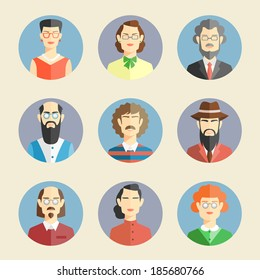 Collection of colored faces icons in flat style depicting the heads and shoulders of diverse men and women facing the viewer in round blue frames  vector illustration