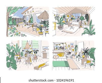 Collection of colored freehand drawings of cozy apartment furnished in Scandinavian hygge style. Set of rooms full of modern furniture. Stylish home interior design. Hand drawn vector illustration.