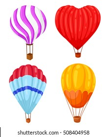 Collection of colored hot air balloons with different patterns on the envelope, vector illustration on white. Balloon heart