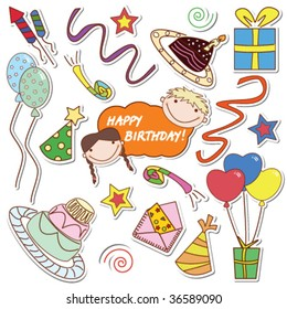 Collection of the colored stickers with many things for celebration of birthday and party