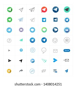 Collection colored vector signs telegrams. Many different colored badges messengers. Simple illustration for web or mobile app. Set of messenger icons and logos isolated on white background