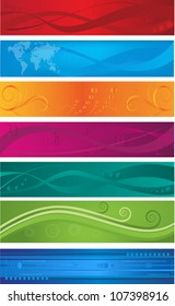 Collection of colorful abstract headers