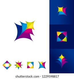 Collection of colorful abstract logos with geometric shapes